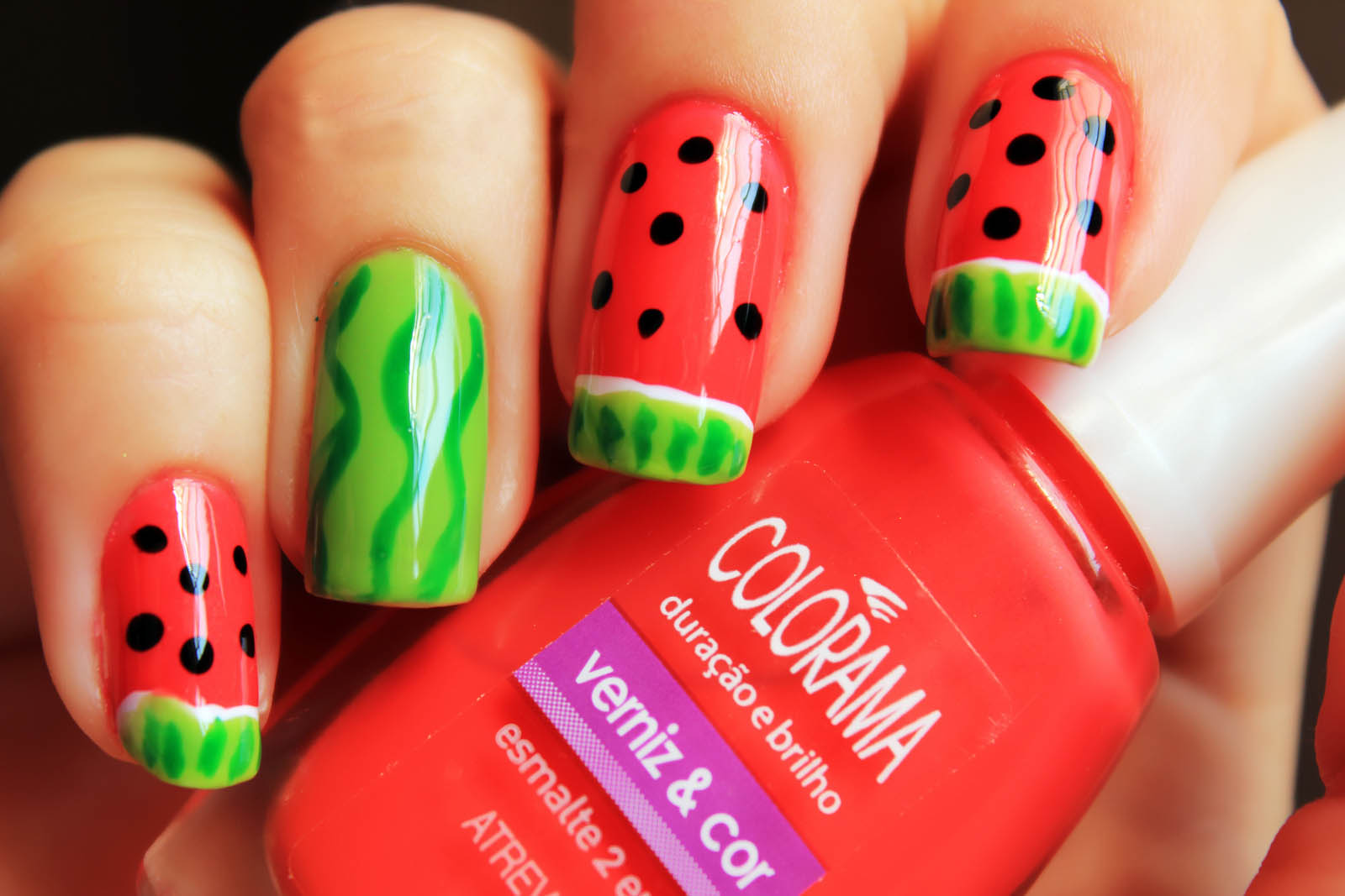 Red And Green Nail Art Design Beauty And Style