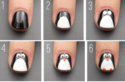 Penguin nail art design