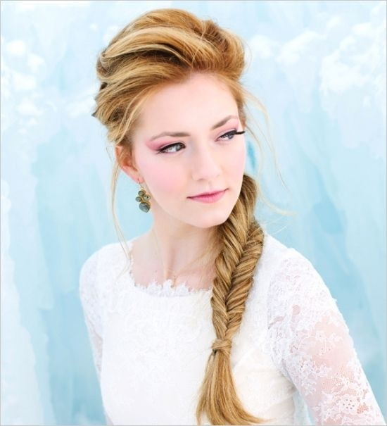 Wedding Bridesmaids Hairstyle Ideas Side Fishtail Braid