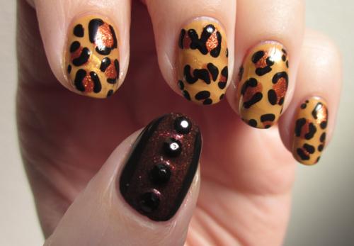 Beautiful cheetah nail art
