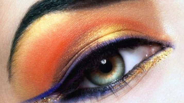 Orange eye make up