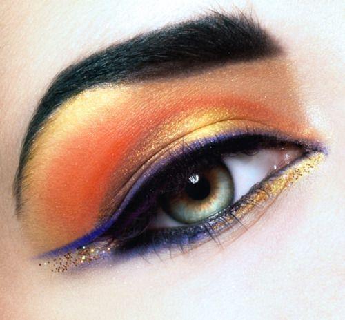 Orange eye make up