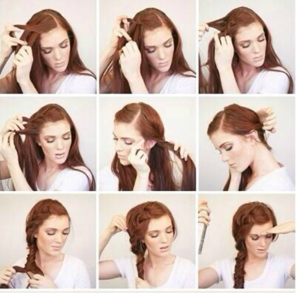 Redhead Girl Showing The Instructions For Sidebraid